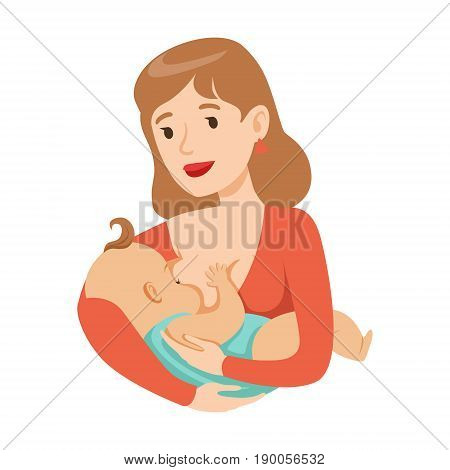 Young mother breastfeeding her baby with breast milk, colorful cartoon character vector Illustration isolated on a white background