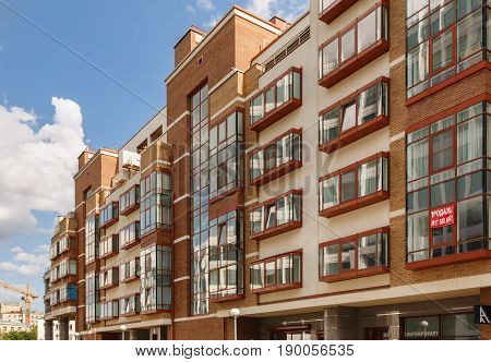 MOSCOW/ RUSSIA - JULY 16, 2015. Modern residential building from residential compound Aquamarine in Moscow, Russia.