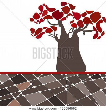 Colorful background with tree baobab and red leafs