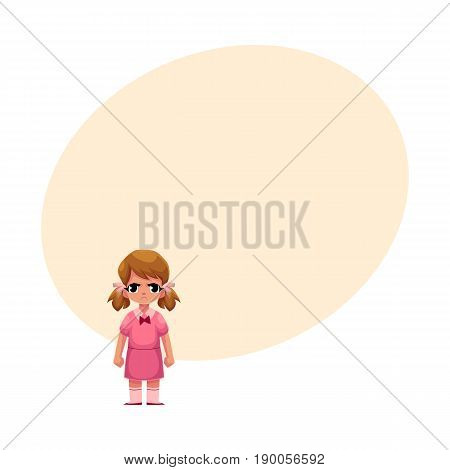 Little girl in pink dress standing with frowned, angry face expression, cartoon vector illustration with space for text. Frowning, angry little girl standing, clenching her fists