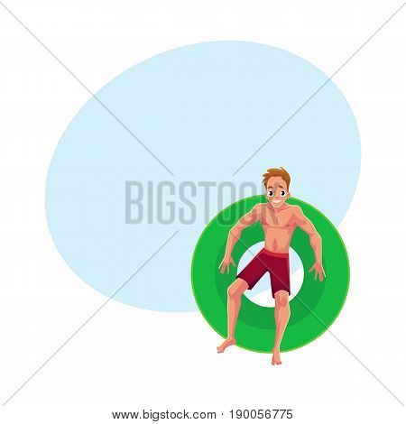 Young Caucasian man on floating inflatable ring resting in star position, top view cartoon vector illustration with space for text. Young man swimming on inflatable ring, pool party