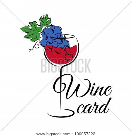 Wine glass with grape. Wine card logo template. Hand drawn wine concept for winery products harvest wine list wine tasting menu and emblem design. Vector illustration isolated on white.