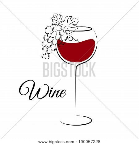Wine glass with grape. Wine glass logo template. Hand drawn wine concept for winery products harvest wine list wine tasting menu and emblem design. Vector illustration isolated on white.