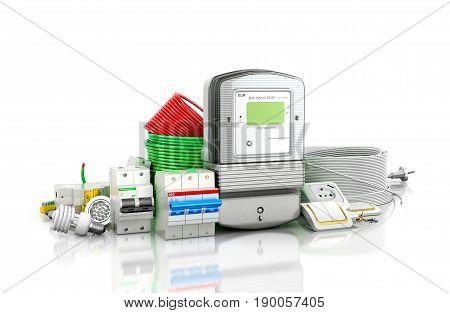 A variety of electrical products on a white background. 3D illustration