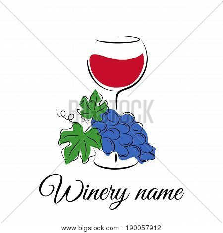 Wine glass with grape. Winery logo in hand drawn style. Wine concept for winery products, harvest, wine tasting menu or emblem design. Vector illustration isolated on white.