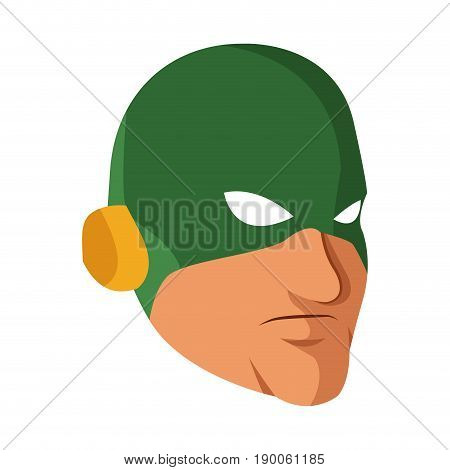 superhero man face male with the mask cartoon vector illustration