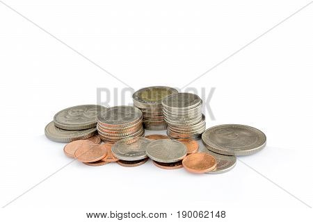 Coins stack for saving money coins isolated on white background .Concept for business.