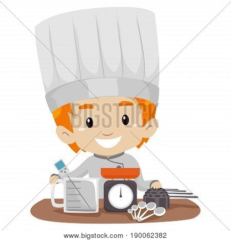 Vector Illustration of Little Boy Chef with Measuring tools