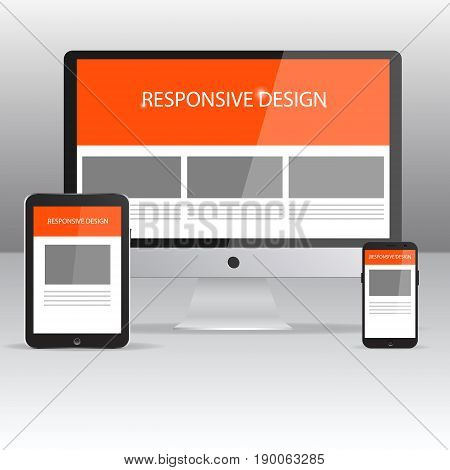 Responsive Design mockup. Flat responsive web design concept website development devices