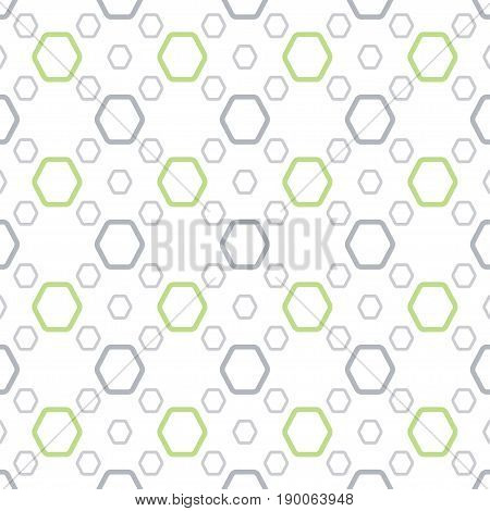 Abstract gray and green geometric background with hexagons of different size.
