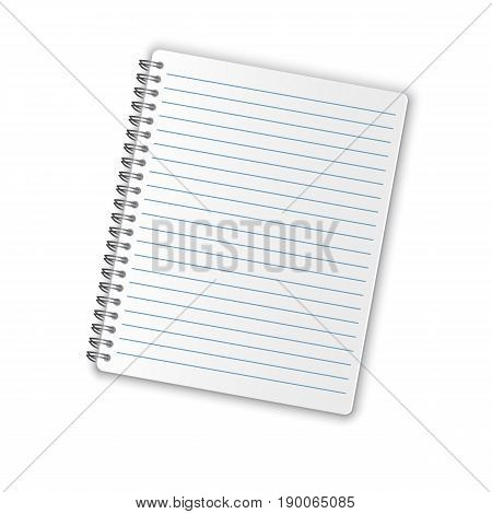 Realistic blank spiral notepad on white background