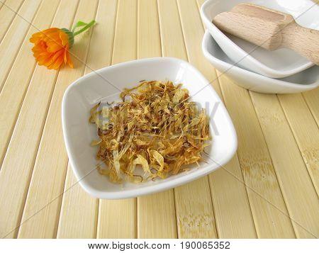 Calendula, marigold flowers, Calendulae flos, for herbal medicine