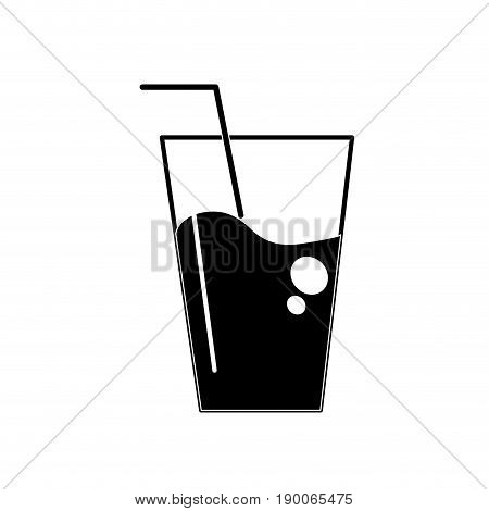 contour water glass to freshness and healthylife vector illustration