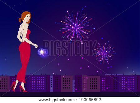 Graceful girl on the background of an evening festive city and fireworks