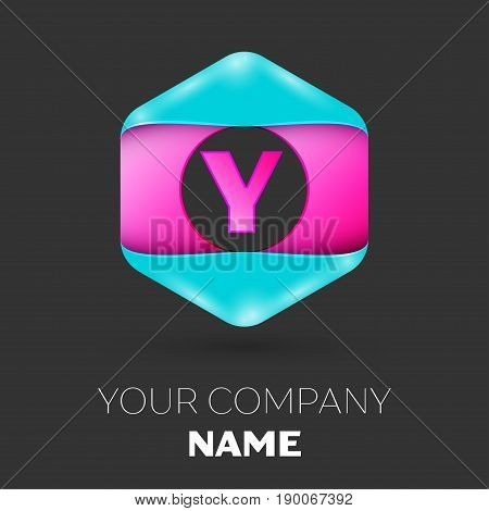 Realistic Letter Y vector logo symbol in the colorful hexagonal on black background. Vector template for your design