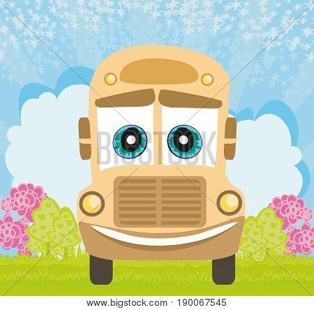 School Bus cartoon character card , vector illustration