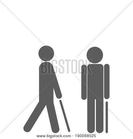 Man walking with cane. Vector flat icon illustration EPS 10.