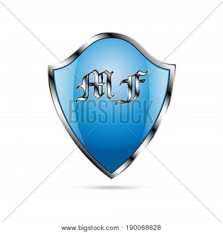 Vector illustration of blue shield with glare in metal frame with vintage capital letters MF and shadow under shield on white background
