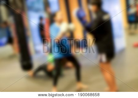 Abstract blur of boxing training in the gym