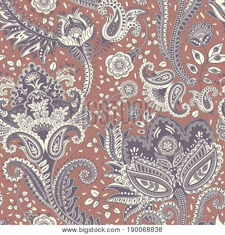 Vector seamless pattern. Indian floral backdrop. Paisley