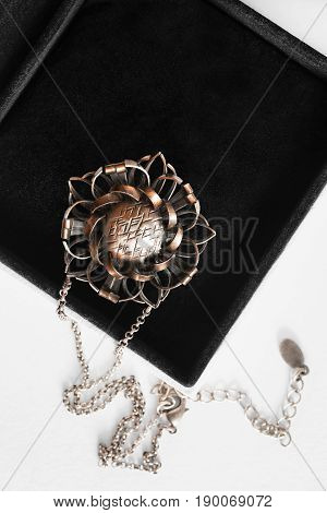Vintage bronze pendant on a chain in black jewel box