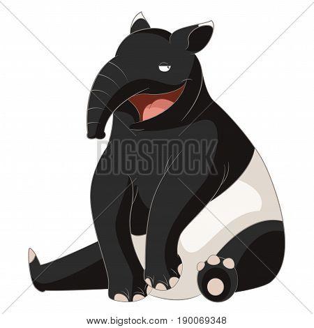 Vector image of the Cartoon smiling Tapir