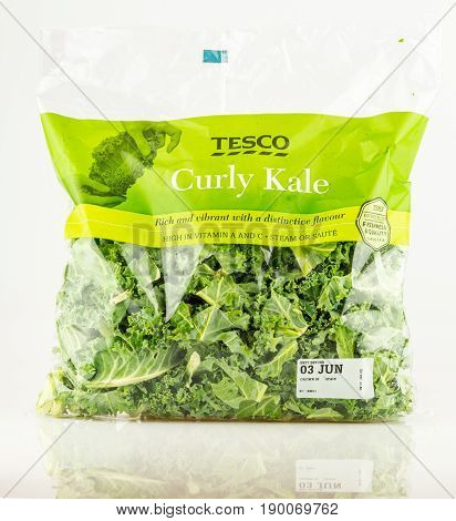 Bag Of Tesco Curly Kale Cut Leaves.