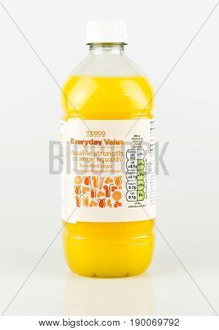 Tesco Everyday Value Double Strength Orange Squash Drink.