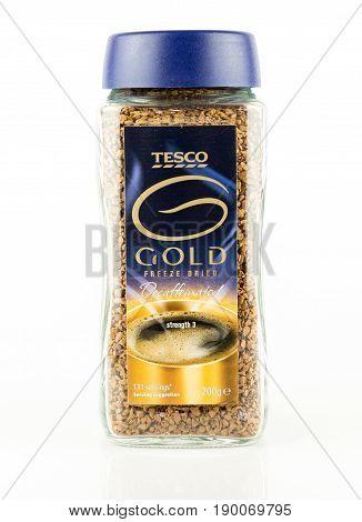 Jar Of Tesco Gold Freeze Dried Decaffeinated Instant Coffee.