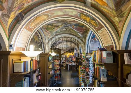 Vilnius Lithuania - May 11 2017: Inside the bookstore