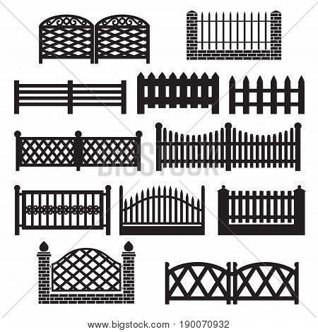 Fence icons. Fence silhouette Icon Set Isolated on a White Background. Barrier for Protection Garden House and Farm. Icons for web and graphic design. Flat simple style logo. Vector illustration.