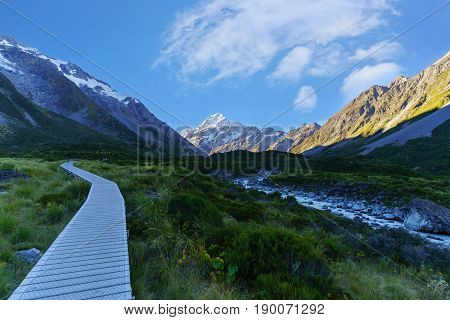 Hooker Valley Track the most popular short walking track within the Aoraki/Mount Cook National Park South Island of New Zealand
