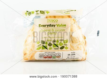 Tesco Everyday Value Cheese And Onion Pasty.
