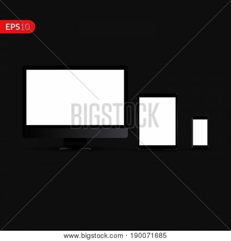 Computer monitors, laptops, tablets and mobile phones realistic set vector design template. Electronic gadgets isolated on dark background for advertising or banner.