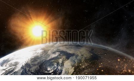 Our earth in cosmos and bright sun. 3d rendering
