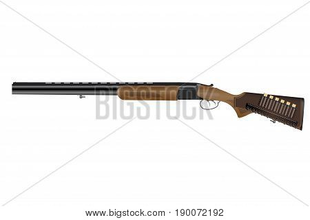Realistic classic vertical two barrels hunting rifle. Wooden fore and butt, cartridges in leather bandolier. Isolated on white background. Vector illustration EPS 10.