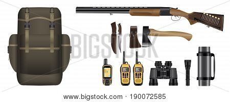 A set of realistic hunting equipment kit: backpack, rifle with cartridges, knife, hatchet, GPS navigator device,  walkie-talkie, binoculars, flashlight and thermos. Vector illustration EPS 10.