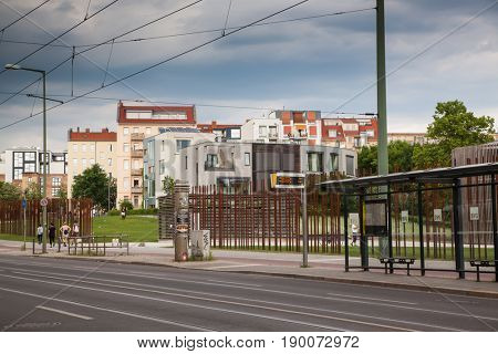 BERLIN, GERMANY - 28th MAY, 2017: Berlin Wall Memorial at Bernauer strasse