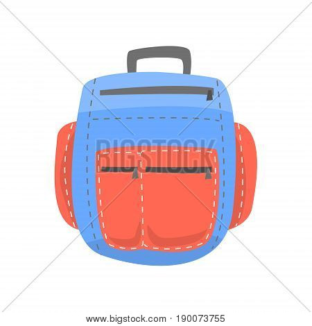 Red and blue backpack, rucksack for school or travel vector Illustration isolated on a white background