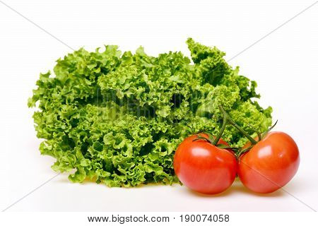 Diet Concept, Leafy Vegetables Or Lettuce Leaf With Tomatoes