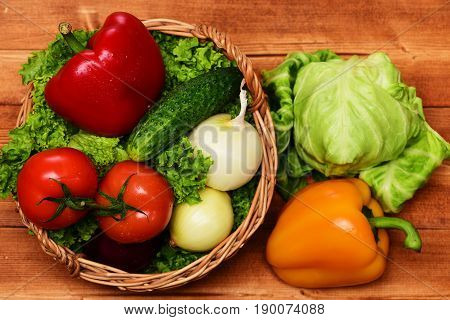 Market Concept, Vegetables, Lettuce Leaf, Tomatoes, Onions, Peppers, Cucumber, Cabbage