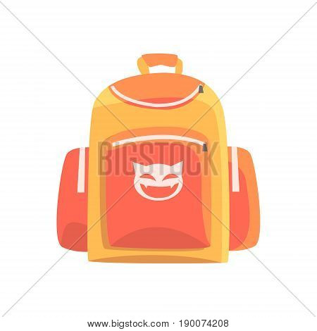 Colorful childrens backpack, rucksack for school vector Illustration isolated on a white background