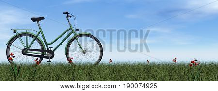 Green lady bicycle on the grass with flowers by day - 3D render