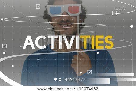 Enjoy Movie Cinema Entertainment Time Leisure Pastime Activity Word Graphic