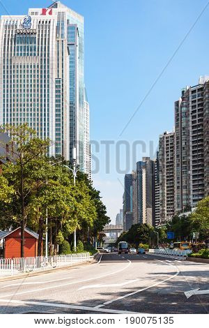 High-rise Houses On Street In Guangzhou City