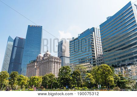 Green Trees And Modern Houses In Guangzhou City