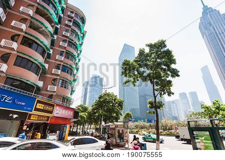 Modern District Of Guangzhou City In Spring