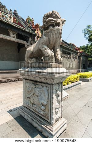 Statue In Court Of Guangdong Folk Art Museum
