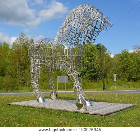 BROMONT QUEBEC CANADA 06 21 17:  By Mathieu Isabelle new statue in Bromont. The home of the Parc equestre Olympique de Bromont, equestrian olympic park.