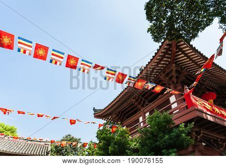 Flag Garlands In Guangxiao Temple In Guangzhou